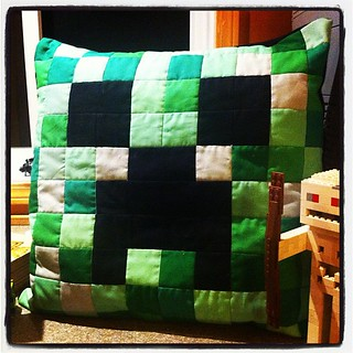A Minecraft Creeper Pillow that I crafted today.  Sssssssss....BOOM. | by CoraQuilts~Carla