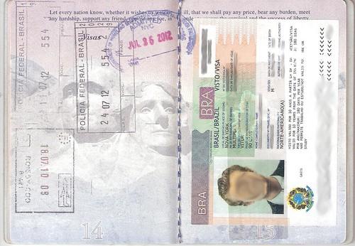 Passport Pages 14-15, Brazil Visa