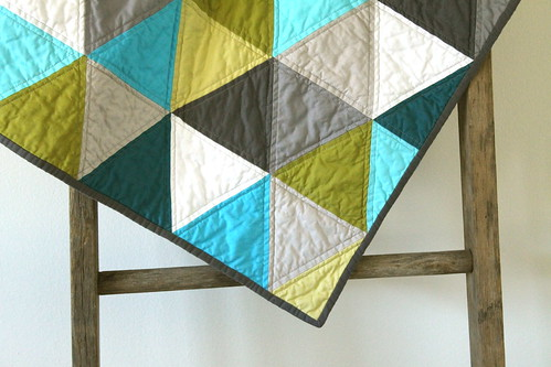 aqua and olive : a pyramids baby quilt. | by CB Handmade