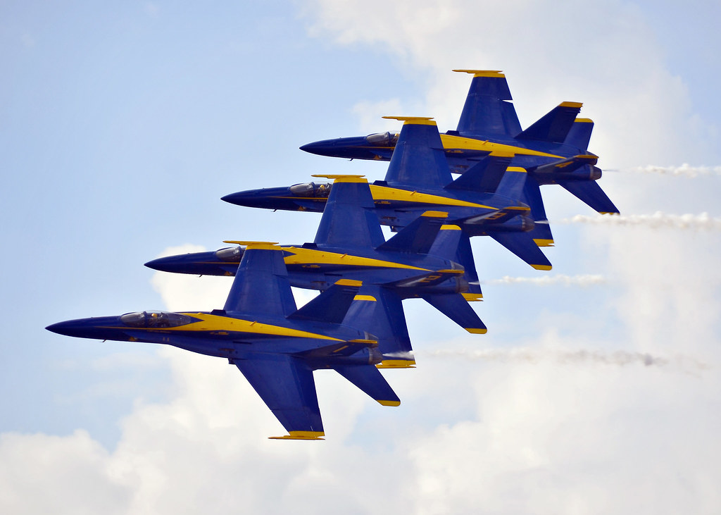 the blue angels fly in formation kaneohe bay hawaii