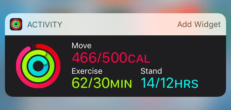 Activity widget