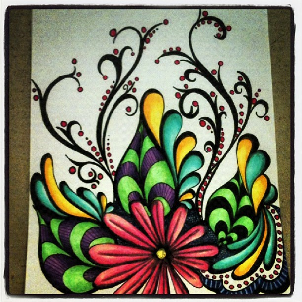Sharpie Drawings Flowers Wonderland gardens i did this while waiting ...