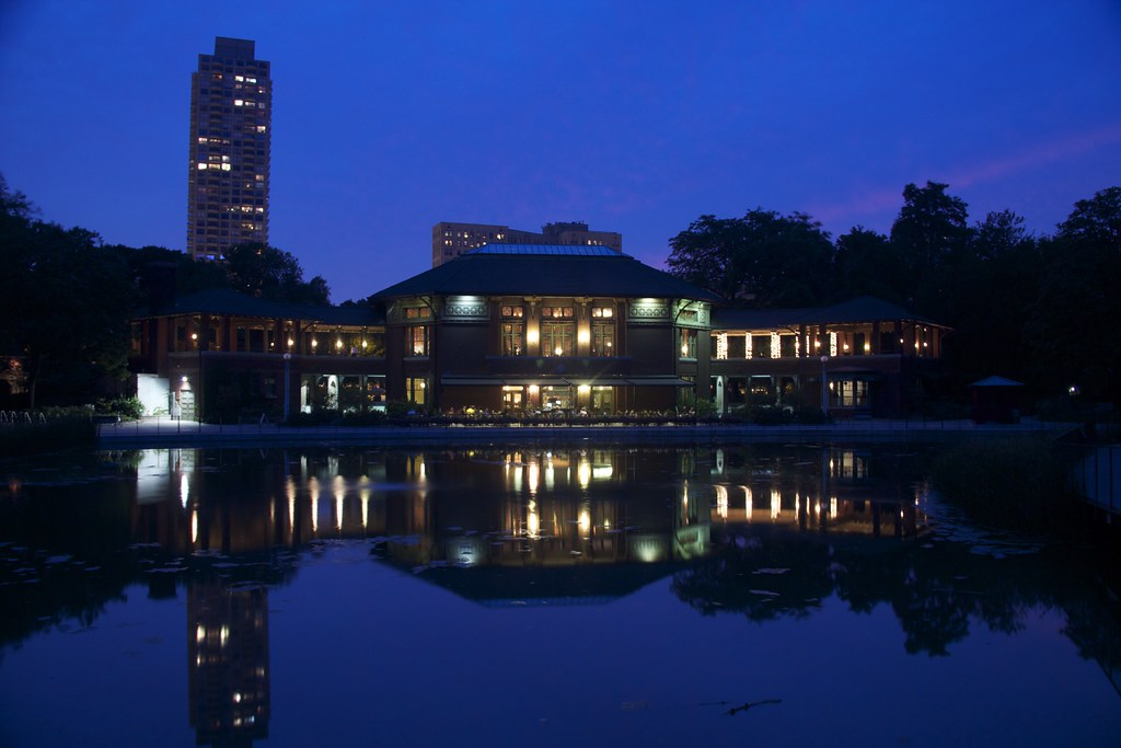 The Patio At Cafe Brauer, Night, South Pond At The Nature