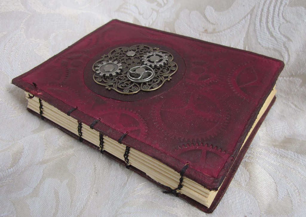 Steampunk Book Cover Tutorial : Steampunk book journal with cover etsy