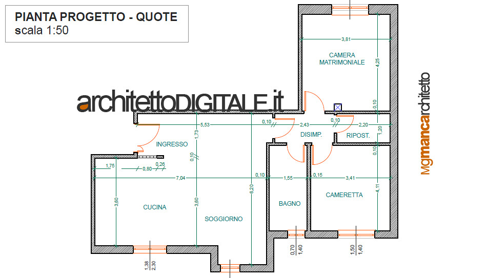 Progetto di interni di un appartamento di 75 mq pianta p for Architetti on line gratis