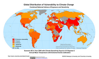 Scenario B2: 2050 Climate Sensitivity 5.5°C, Extreme Events | by SEDACMaps