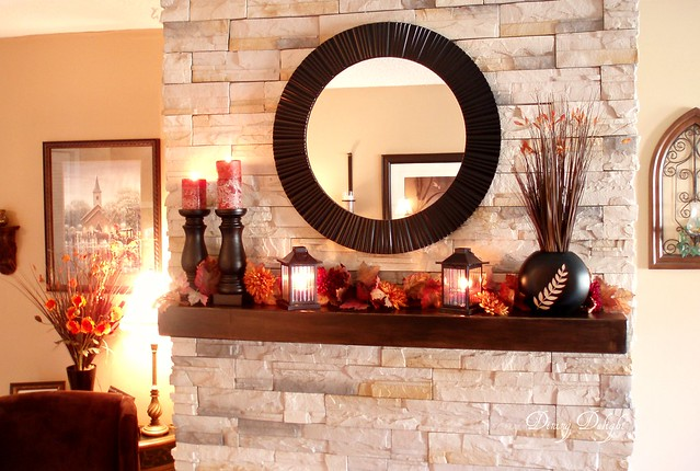 Round Mirror Over Mantel