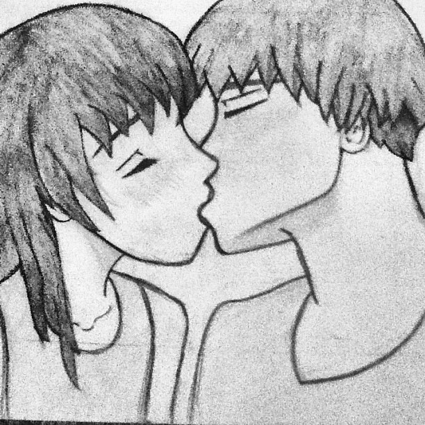 My drawing of two people kissing. | Abigail Lupton
