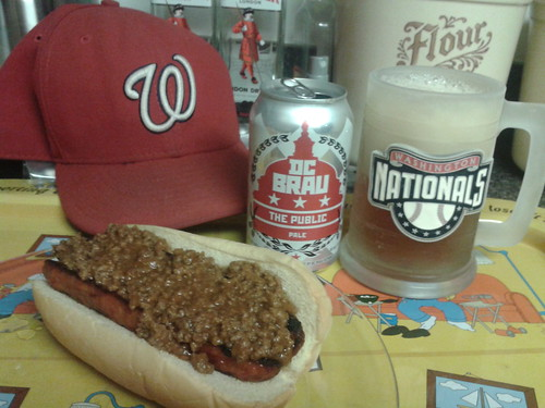 Sunday's lunch - chili half-smoke with DC Brau | by wfyurasko