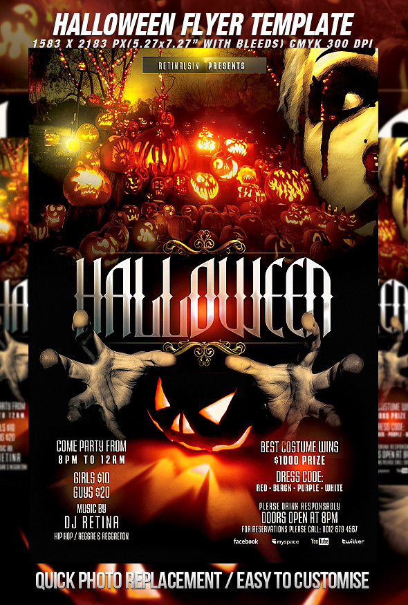 Psd halloween flyer template download fully editable psd f flickr for Halloween psd