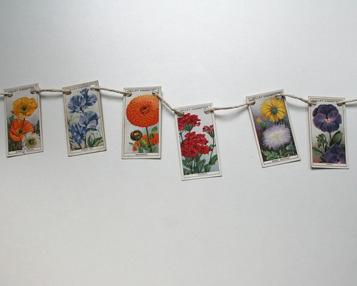 Mini upcycled bunting - British flowers | by Swirlyarts