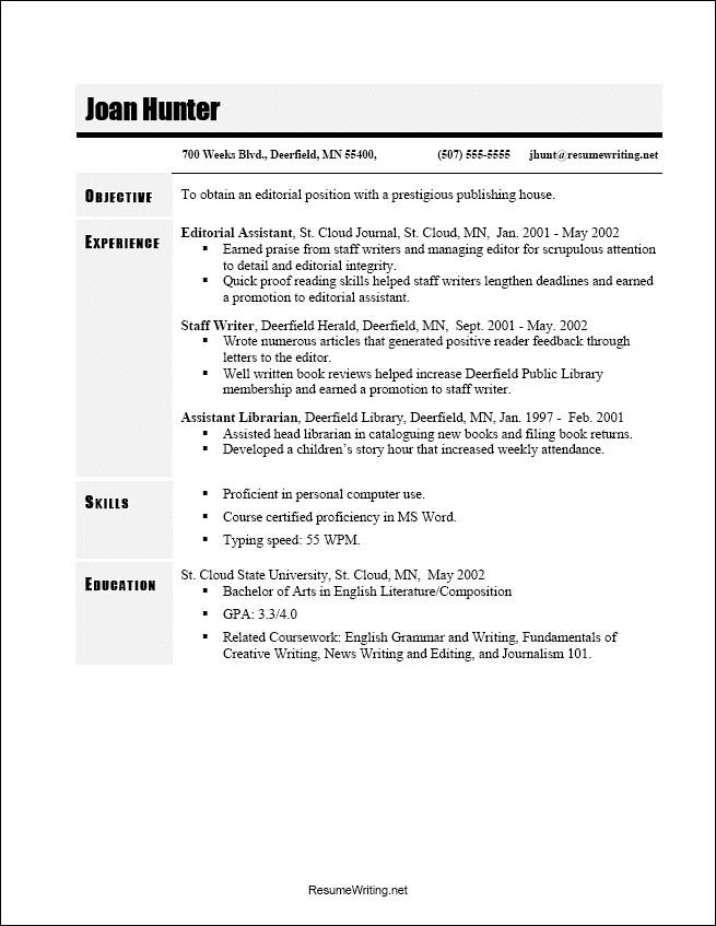 resume writing chronological order