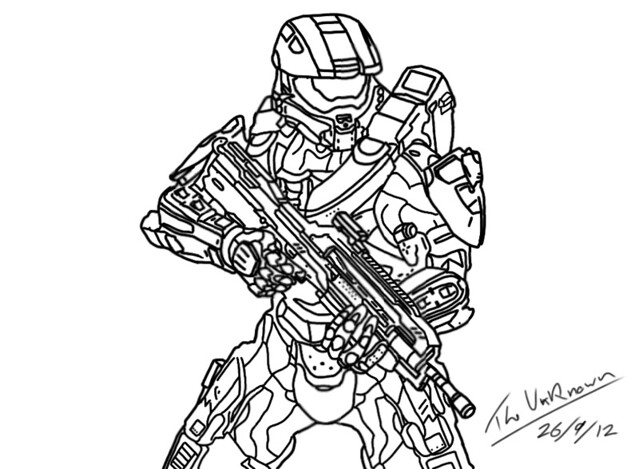 Halo 4 master chief sketch coloring page for Master chief coloring pages