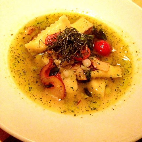 Fucking gorgeous white corn and truffle plain with lobster mushroom, basil and cherry tomato. Incredibly light pasta and I want to tip the bowl up to drink the broth. | by ayngelina