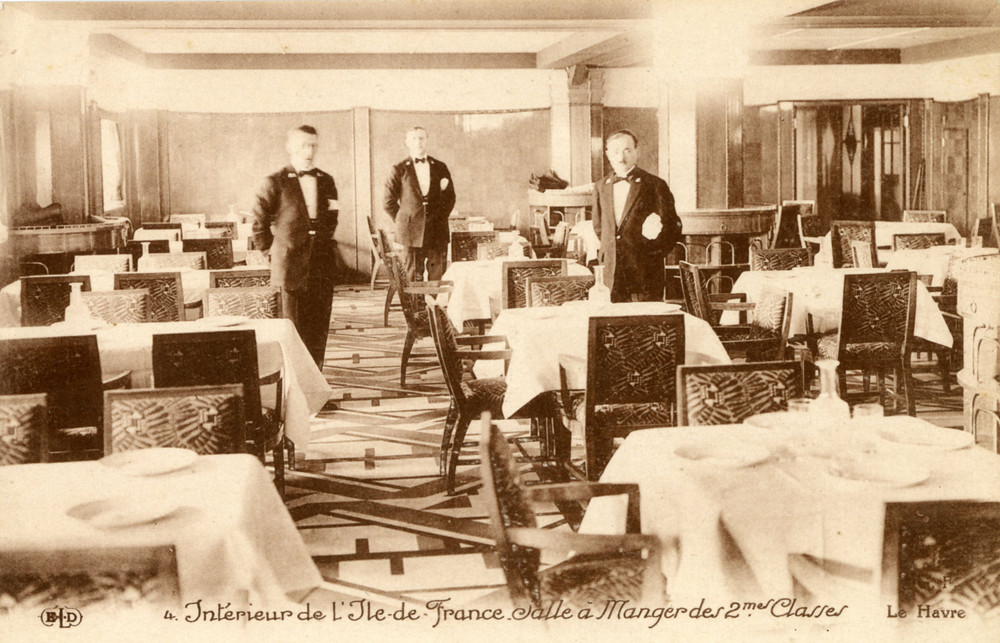 Ss ile de france 2nd class dining room french lines for Interieur france