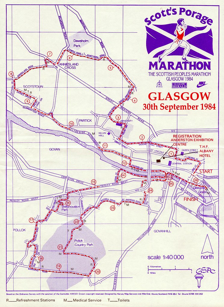 1984 Glasgow Marathon Route Best seen on large view The Flickr