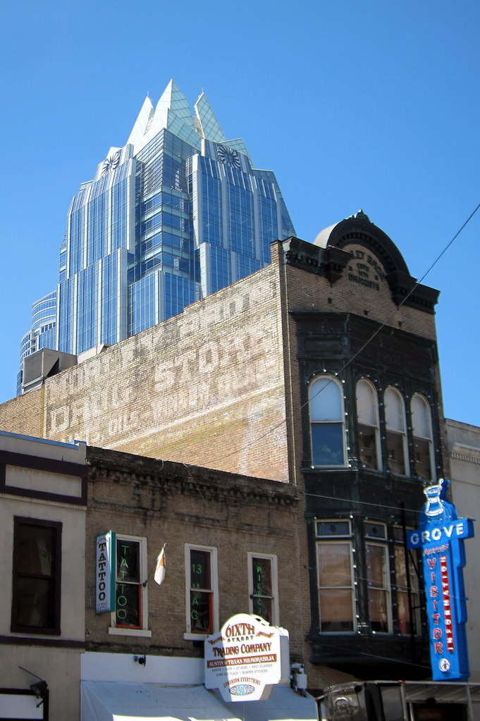 Austin Downtown Grove Drug Store And Frost Bank Tower