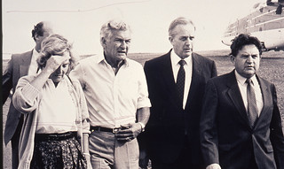Earthquake - Bob & Hazel Hawke, Lionel Bowen & Peter Morris - Newcastle, NSW | by UON Library,University of Newcastle, Australia