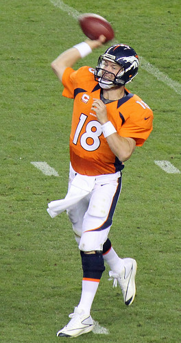 Peyton Manning throwing  a pass -- intensively. | by Jeffrey Beall