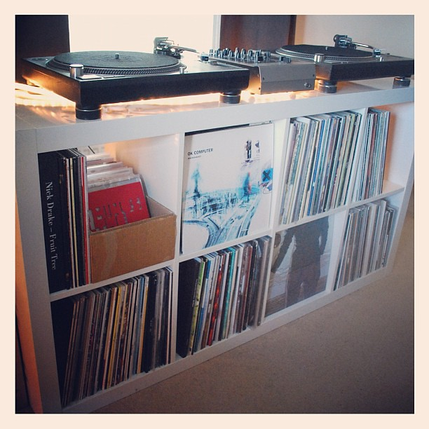 New vinyl storage assembled and in place steve gibbs - Mobile stereo ikea ...