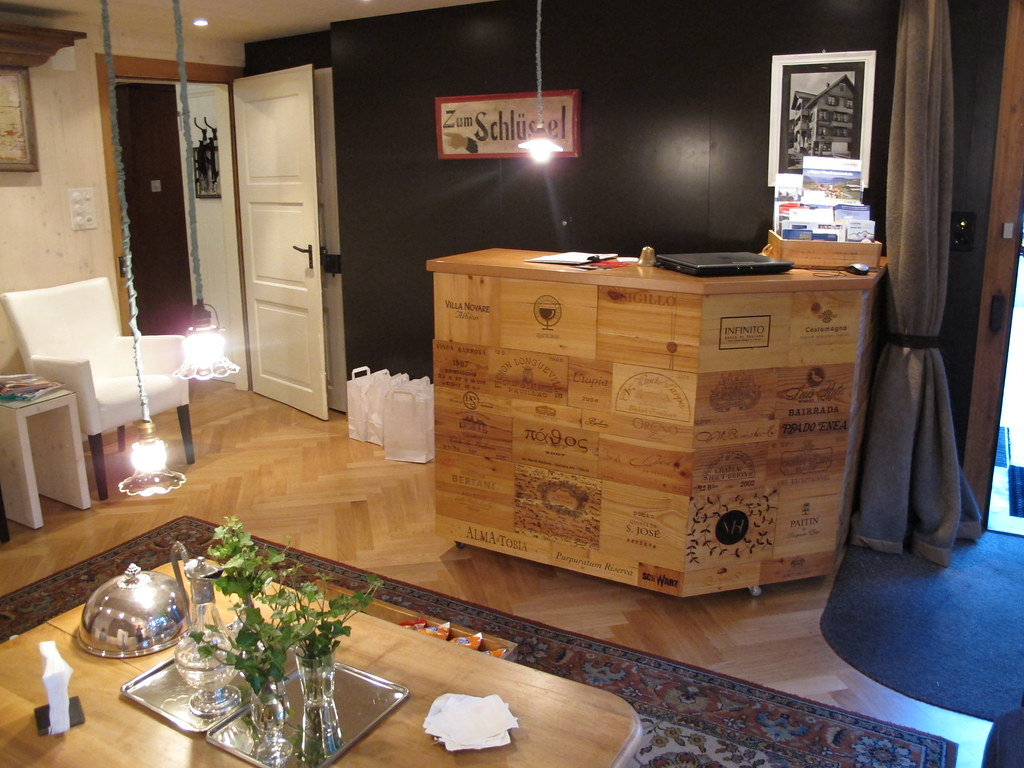 Reception desk made with wine crates taken at boutique What to do with wine crates