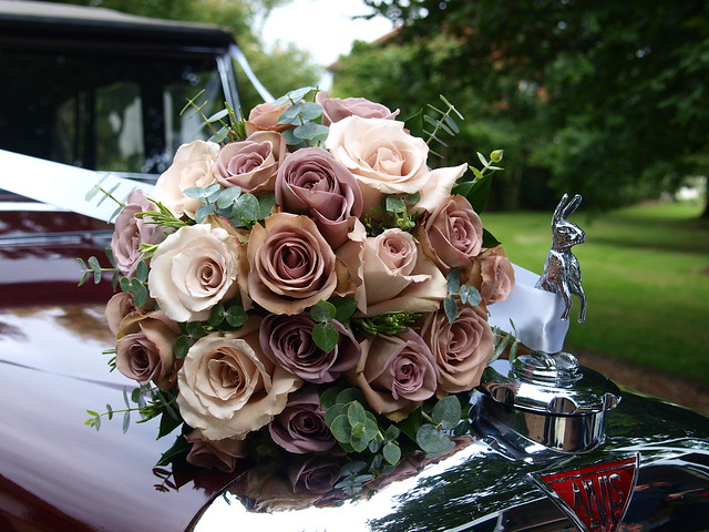 Hand Tied Bouquet Using Amnesia And Quicksand Roses Eucal