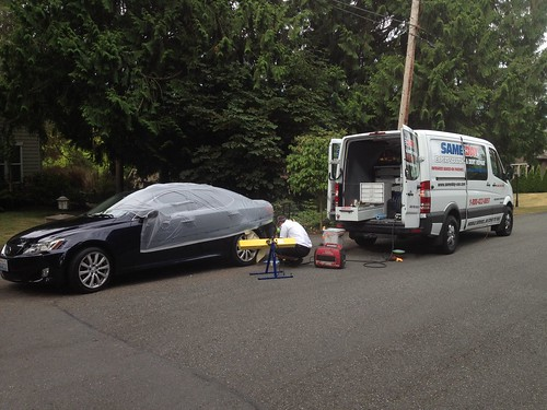 Sameday paint refinishing in bellevue sameday auto scrat for Mobile auto painting