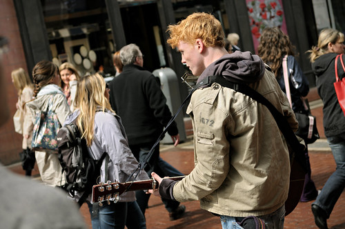 Street musician playing guitar and harmonica in Grafton Street in the city centre of Dublin - Ireland | by PascalBo