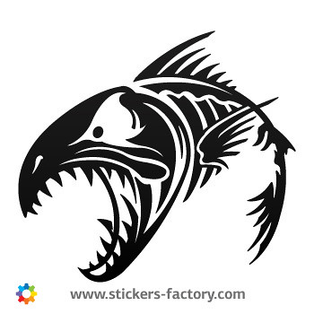 Stickers factory decal fish bones skull and skeleton 06151 for Fish skeleton decal