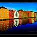 Beautiful coloured houses/buildings on Nidelva river in Trondheim, Norway.