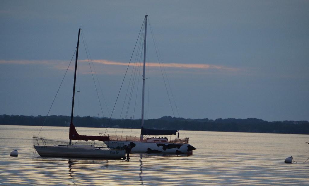 Cow boat dusk over lake mendota from the terrace for Mendota terrace