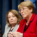 UN Women Executive Director Michelle Bachelet takes questions during a joint press conference on the work, especially on behalf of women, of the Special Court for Sierra Leone