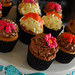 Cupcakes with Pink Flowers and Bows