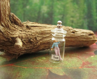 Miniature Glass Bottle With Woman Trapped Inside~1:12th Scale | by Enchanticals ~I'm Coming Back