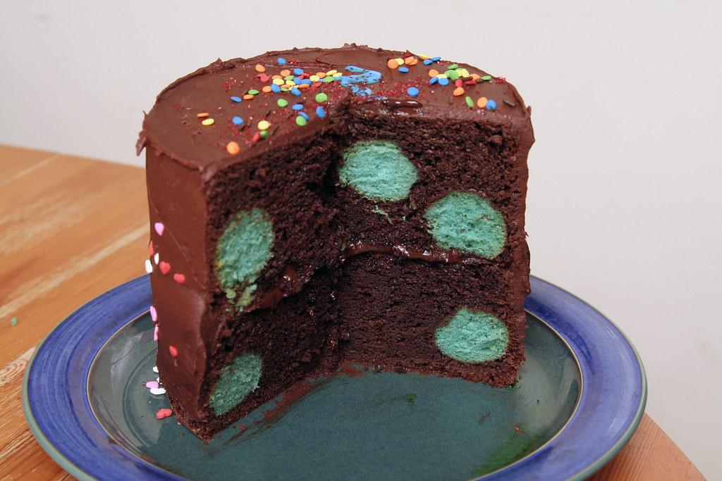 Chocolate Cake With Polka Dots Inside