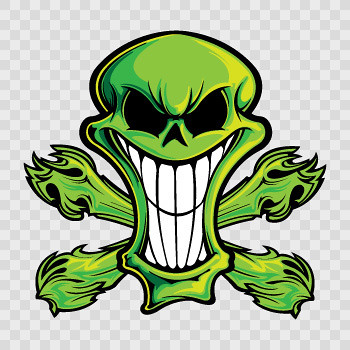 Stickers factory decal cartoon green skull 02416 by stickers factory
