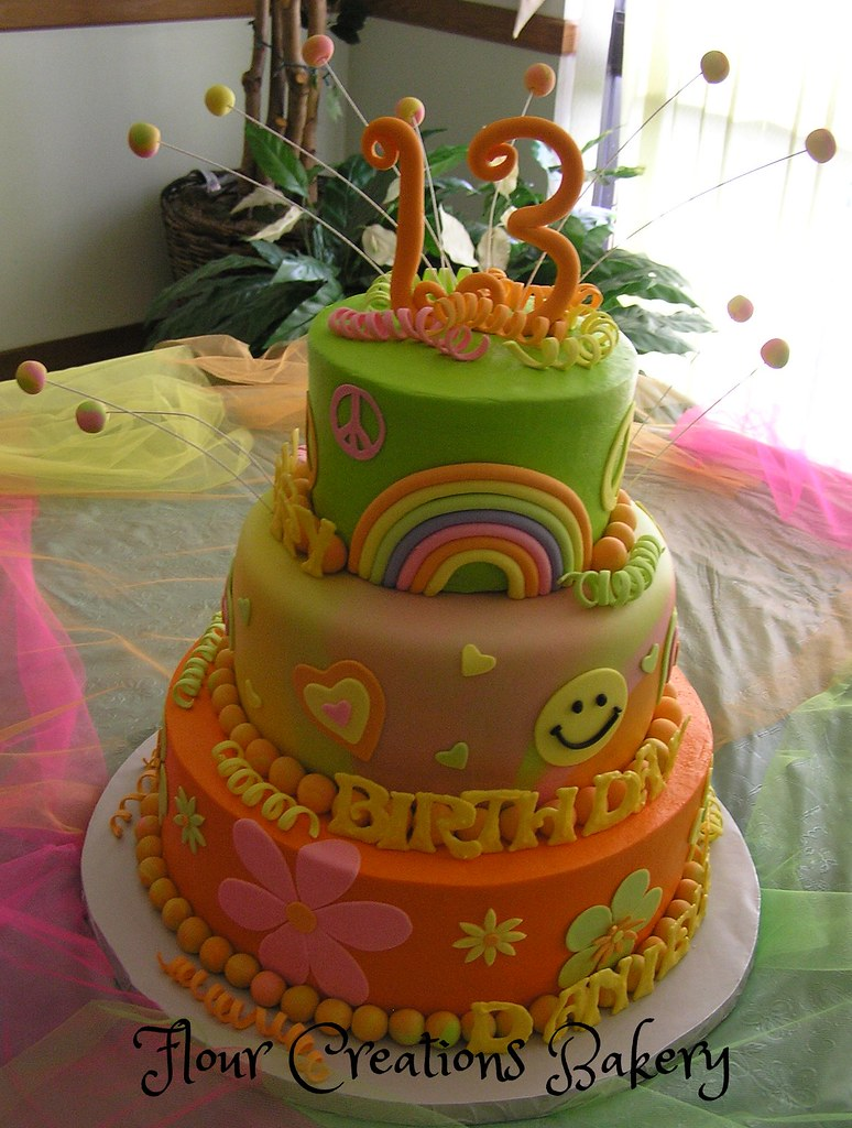 70s Theme Birthday Cake Birthday Cake For 13th Flickr