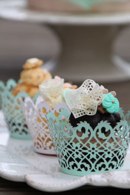 V Auswahl Cupcakes Vintage Mint Apricot Knopfe Schleife Br Flickr