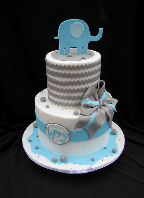 chevron baby shower cake with elephant flickr photo sharing