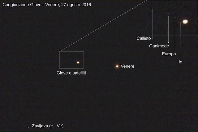 Congiunzione Giove - Venere del 27 agosto 2016