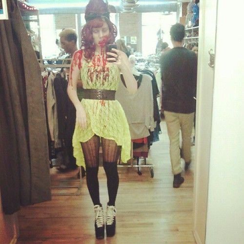 Zombie day at buffalo exchange williamsburg!!! Come see me!  or be brave enough to invite me for a drink after work tonight. :) | by Jemibook