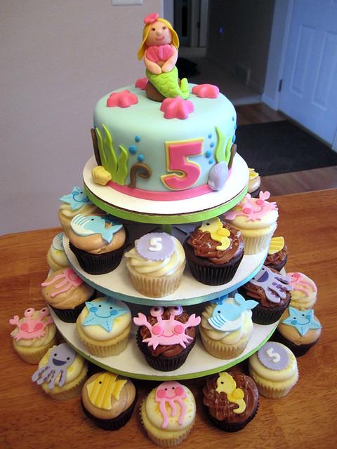Under the Sea Birthday Cupcake Tower and Cake | Explore ...
