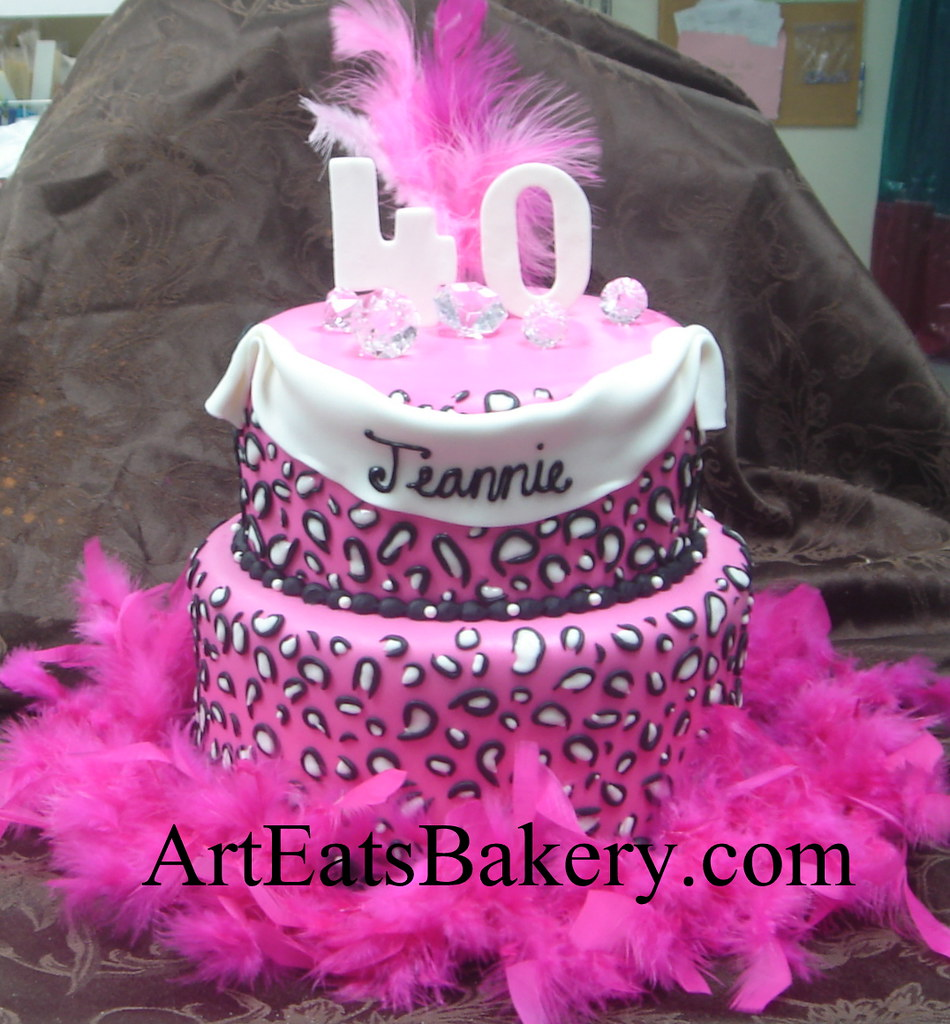 Two Tier Pink White And Black Leopard Print Lady S 40th B