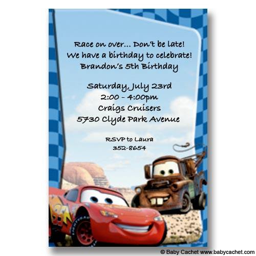 Cars Lightning Mcqueen Mater Birthday Invitations New