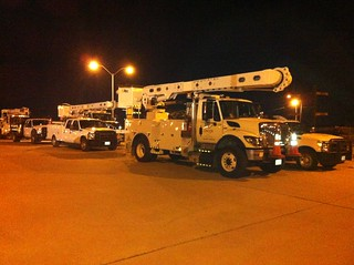 Sandy assistance trucks lined | by Oncor