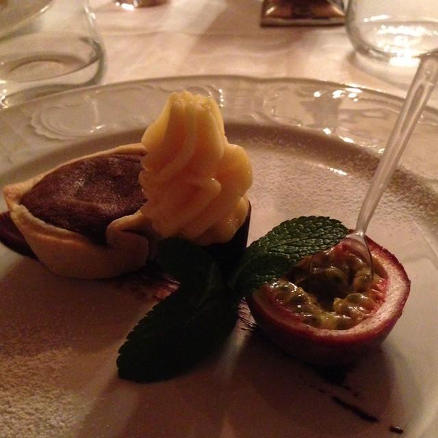 Schokoladentörtchen Mit Hausgemachtem Passionsfruchtsorbet @ Hotel Monika -The Wellbeing Hotel In The Dolomites