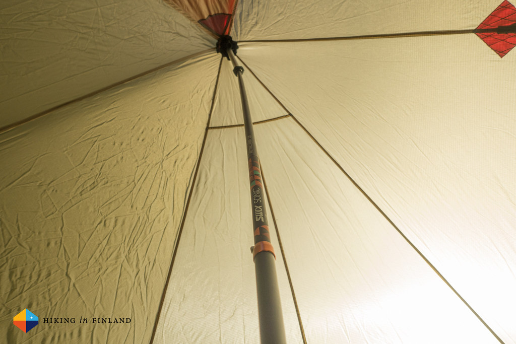 As a tent pole, looking up