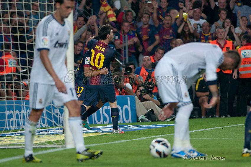 ... Lionel Messi of FC Barcelona celebrates after scoring his team s first  goal during the La Liga af95bd600aa97