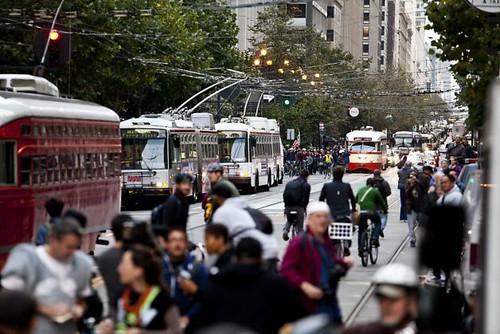 Critical Mass 20th Anniversary Ride, San Francisco, streetcars on Market Street