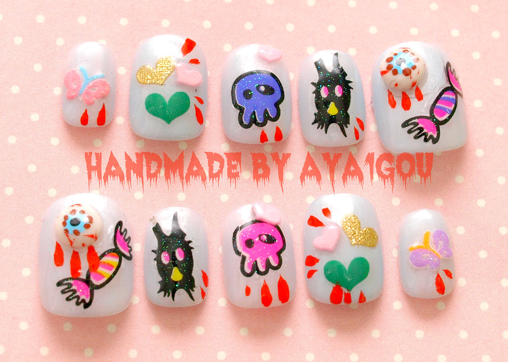 Kawaii 3D nails | Handmade by me^^ Link in my profile page ...